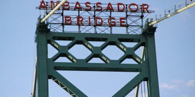 1929 Ambassador Bridge over the Detroit River between Detroit and