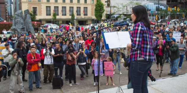 Affordable Housing Protest Rally, at the Vancouver Art Gallery. Sunday, May 24th 2015. Vancouver British...