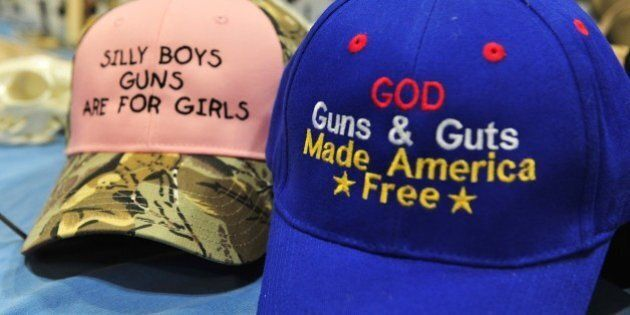 Merchandise for sale is displayed at the 2015 NRA Annual Convention in Nashville, Tennessee on April...