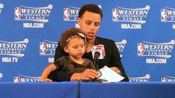 NBA Star Keeps His Cool As Daughter Owns His Press