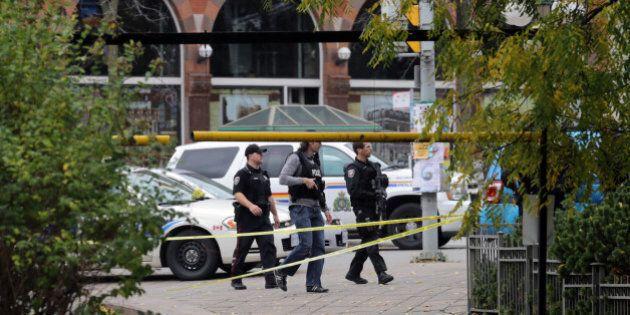 OTTAWA, CANADA - OCTOBER 22: Ottawa police patrol along Elgin St. steps away from the National War Memorial...