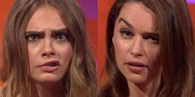 Cara Delevingne And Emilia Clarke Have An 'Eyebrow-Off' And It's The