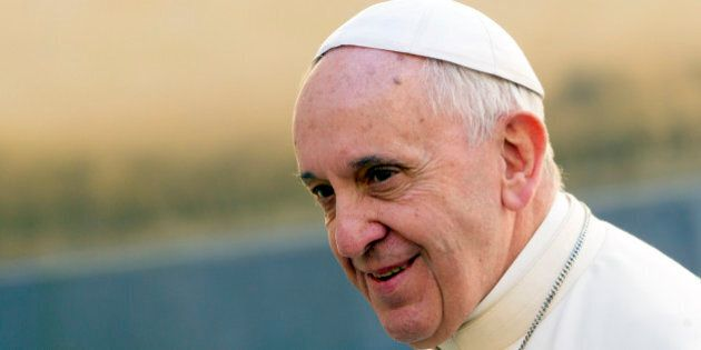 Pope Francis leaves his residence to meet Cuba's President Raul Castro, at the Vatican, Sunday, May 10,...