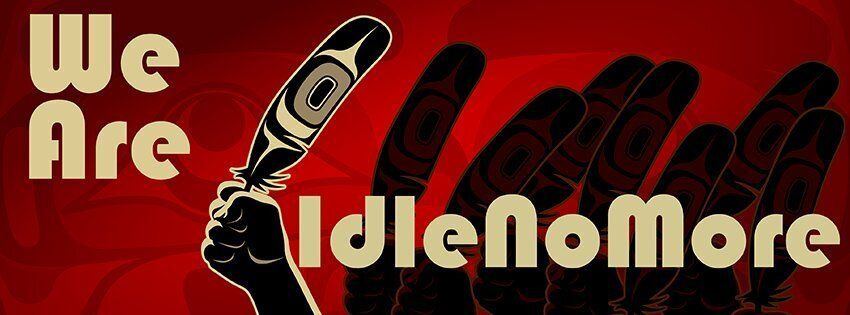 This gallery shows creative designs that illustrate the aims of the Idle No More movement.