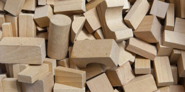 Background of Wooden Building Blocks in a