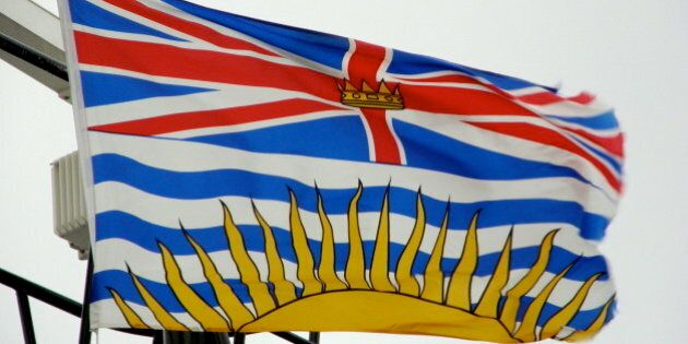 Description Flag of British Columbia , flown on board the BC Ferries ship M/V Queen of Oak Bay | Source...