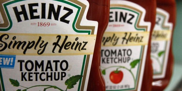 FILE - This Wednesday, March 2, 2011, file photo, shows containers of Heinz ketchup on the shelf of a...