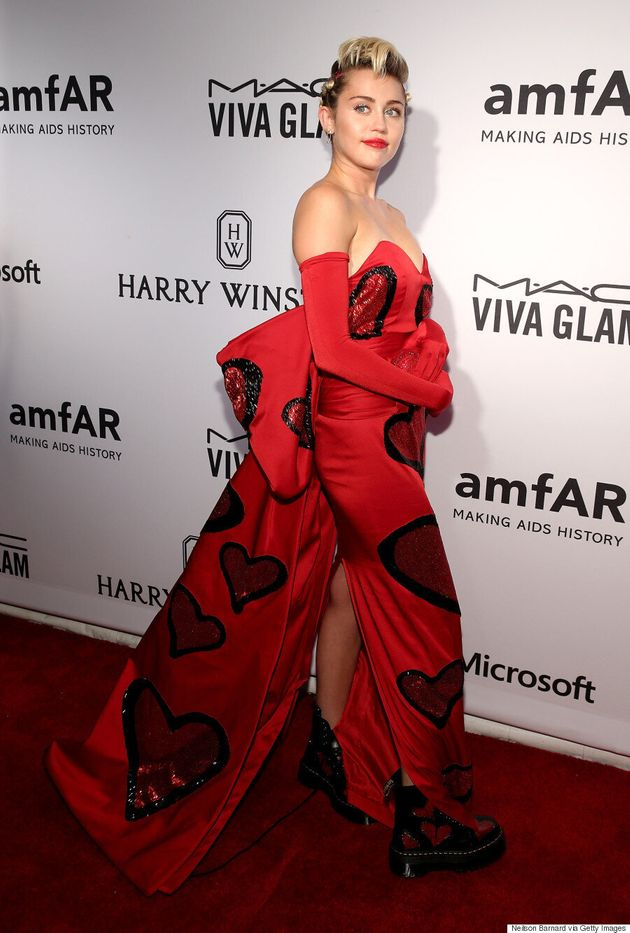 Miley Cyrus Goes Glam, Brings Agender Date To amfAR Inspiration