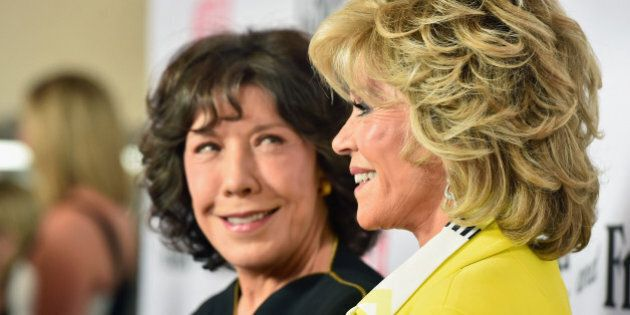 LOS ANGELES, CA - APRIL 29:  Actors Lily Tomlin and Jane Fonda attend the premiere of Netflix's 'Grace and Frankie'  at Regal Cinemas L.A. Live on April 29, 2015 in Los Angeles, California.  (Photo by Alberto E. Rodriguez/Getty Images)