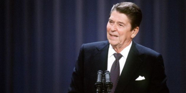 US President and Republican presidential candidate Ronald Reagan addresses the Republican National Convention...