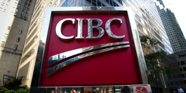 Canadian Imperial Bank of Commerce (CIBC) signage is displayed outside of the company's office near Bay...