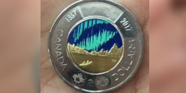 Canada 2017 Dance of the Spirits Colour Toonie *Snow Cap Error* From Mint Roll!!