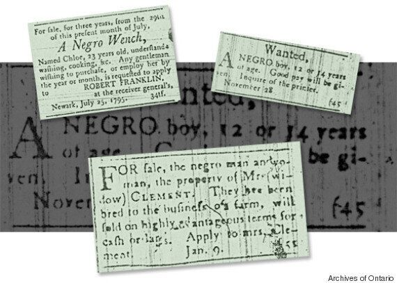 Slavery buy and sell ads from the Upper Canada Gazette and Niagara Herald (Archives of Ontario)