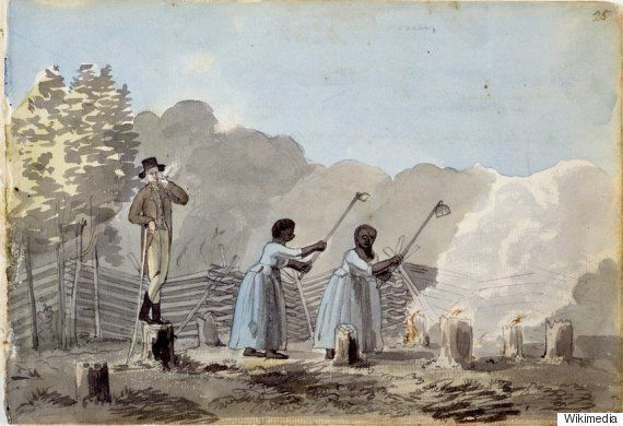 A watercolour of an overseer watching his slaves work. (Wikimedia Commons)