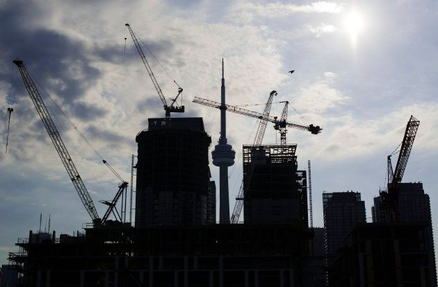 Condominiums are seen under construction in Toronto, July 10, 2011.