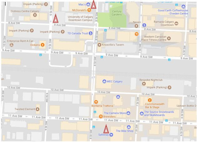 Calgary police released a map showing the three locations where victims were