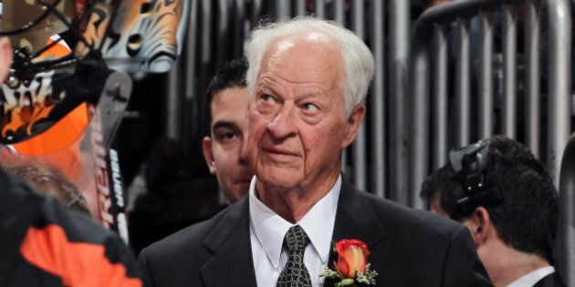 PHILADELPHIA, PA - MARCH 06: Gordie Howe looks on during his son's Mark Howe of the Philadelphia Flyers...