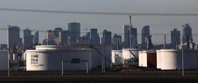 Crude oil tanks at Enbridge's terminal are seen in Sherwood Park, near Edmonton in