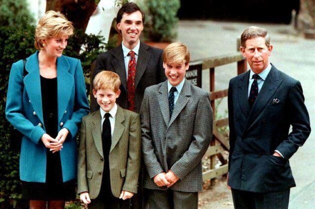 The Prince and Princess of Wales, Prince Harry, and housemaster Dr Andrew Gayley (behind) escort Prince William (2R), second in line to the throne, for his first day of term at the world famous Eton College September 6, 1995.