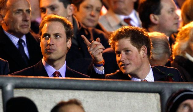 Prince William and Prince Harry watch England's Six Nations rugby match against Wales at Twickenham stadium in London February 6, 2010.