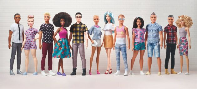 Some of the new Ken doll options, including a variety of skin tones, hairstyles and body types.