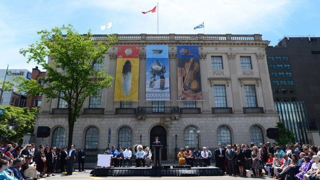 Prime Minister Justin Trudeau speaks during National Indigenous Peoples Day celebrations in Ottawa on...