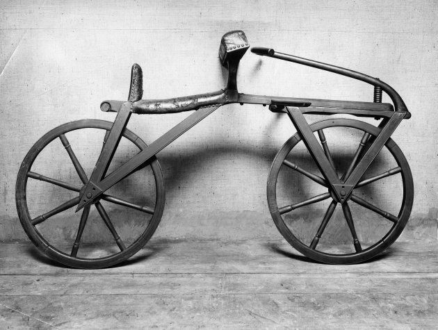 The dandy horse (also known as Laufmaschine), invented by Karl Drais. Being the first means of transport to make use of the two-wheeler principle, the Laufmaschine is regarded as the forerunner of the bicycle. (Photo: Ullstein Bild via Getty Images)