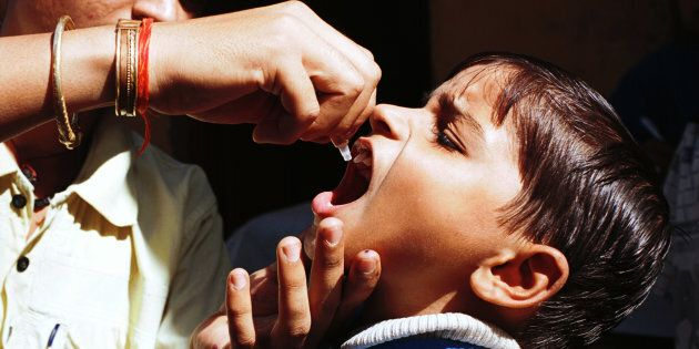 The Indian government plans to eradicate the disease of polio through nationwide efforts. (Photo by Pallava...