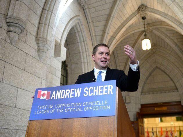 Conservative Leader Andrew Scheer speaks to reporters in Ottawa on June 21, 2017.