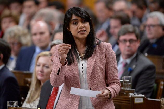 Government House Leader Bardish Chagger responds to a question during question period in the House of...