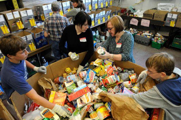 Volunteers at a Toronto food bank.