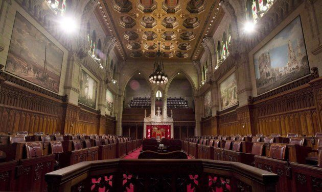 The Senate chamber sits empty on September 12, 2014 in