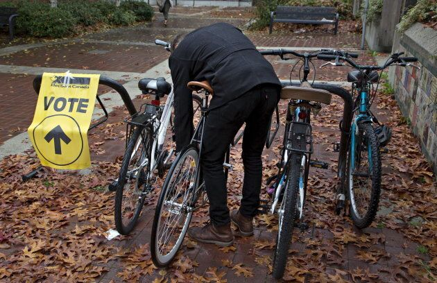Voters park their bicycles outside a polling station in downtown Vancouver, B.C. on Oct. 19, 2015.