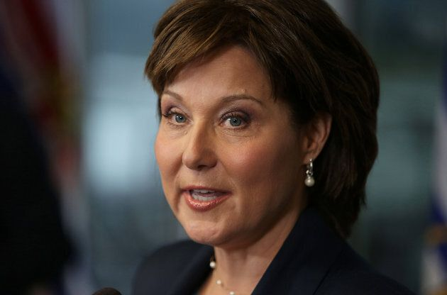 Premier Christy Clark speaks to media in Vancouver, B.C. on May 30,
