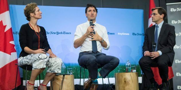 Prime Minister Justin Trudeau sits alongside Peter Baker, Chief White House Correspondent of the New...