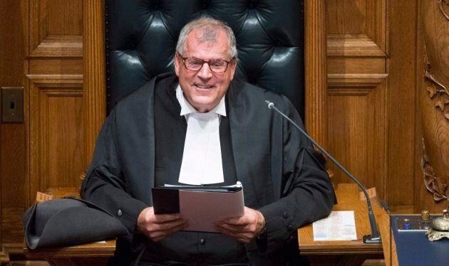 Newly appointed House Speaker Steve Thomson addresses the legislature prior to the Speech from Throne...