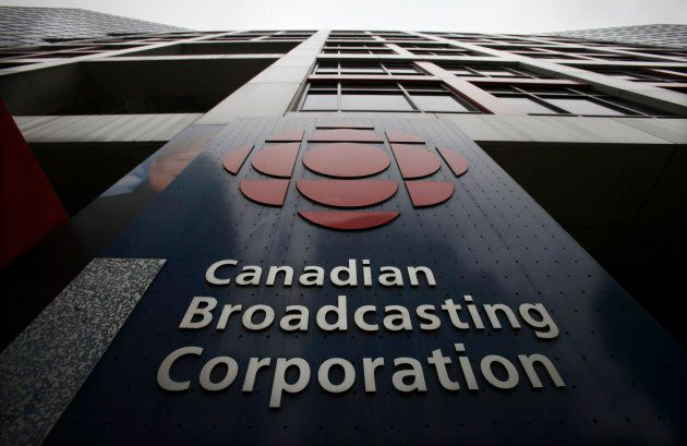 A sign is seen at the Canadian Broadcasting Corporation building in