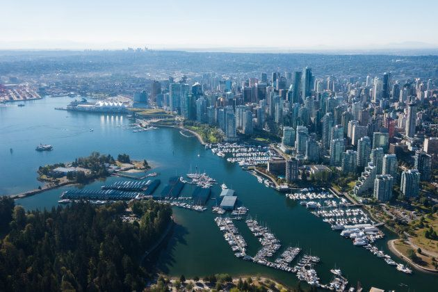An aerial image of Vancouver, which ranks as the most expensive city in Canada, but only 107th