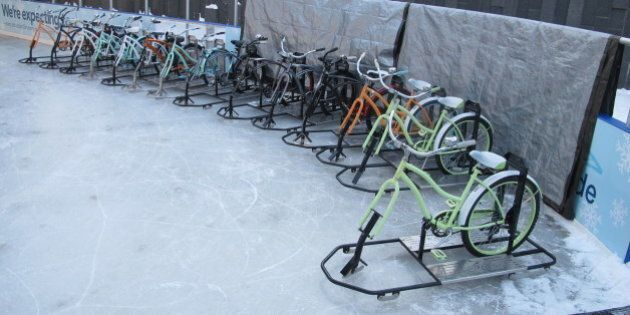 A line of ice bikes await riders at the Ice at Canalside in Buffalo, N.Y., Feb. 25, 2015. Since the rental...