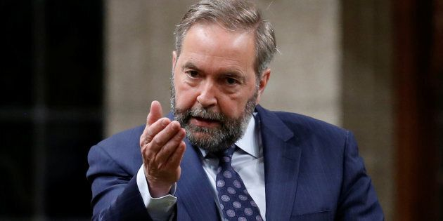 New Democratic Party (NDP) leader Thomas Mulcair speaks in the House of Commons on Parliament Hill in...