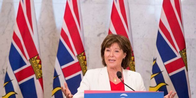 British Columbia Premier Christy Clark addresses a gathering in Vancouver, B.C. Wednesday, June 21, 2017. The B.C. Legislature will return on Thursday and the government will give their Speech from the Throne. THE CANADIAN PRESS/Jonathan Hayward