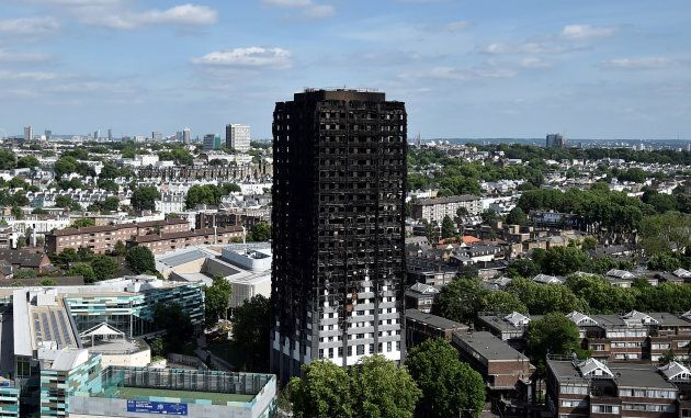 Extensive damage is seen to the Grenfell Tower block which was destroyed in a disastrous fire, in London...