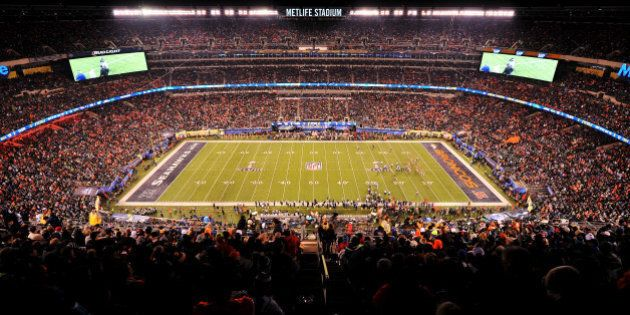EAST RUTHERFORD, NJ - FEBRUARY 02: A general view of MetLife Stadium during Super Bowl XLVIII between...