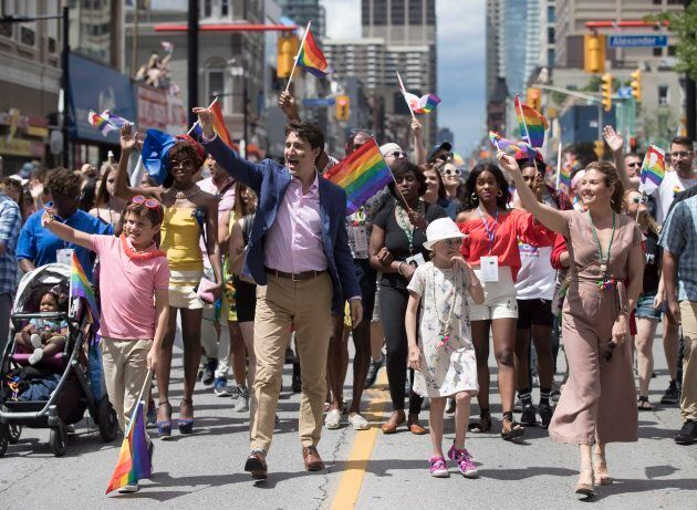 Prime Minister Justin Trudeau, his wife Sophie Gregoire Trudeau and their children Ella-Grace and Xavier...