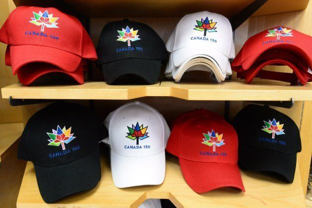 Canada 150 ball caps are shown for sale in Ottawa on Thursday, June 22,