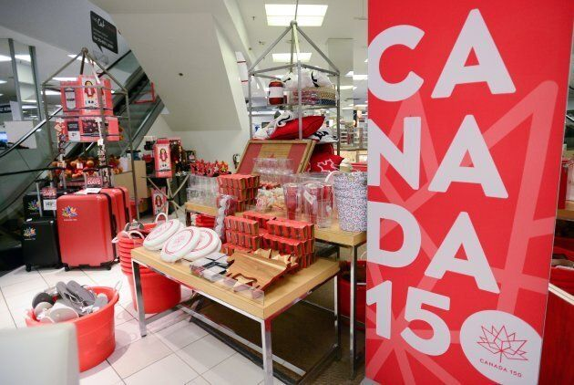 Canada 150 merchandise is shown for sale in Ottawa on Thursday, June 22,
