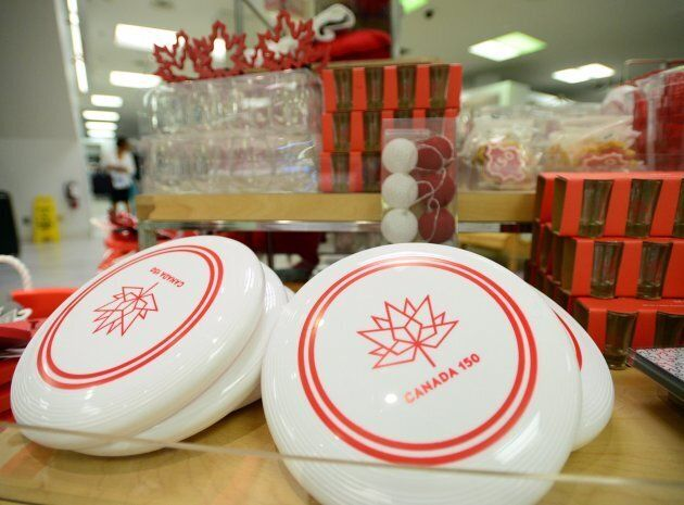 Canada 150 frisbees are shown for sale in Ottawa on Thursday, June 22,