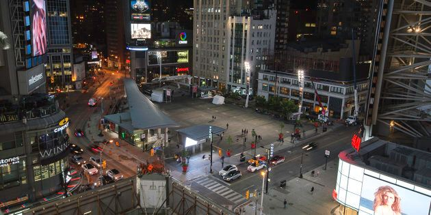 A still from a time-lapse video of Yonge and Dundas Square in Toronto,