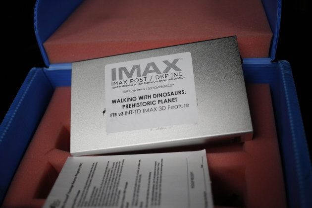 A box containing a 3D IMAX Corp. film is pictured in the projection booth at the Tennessee Aquarium IMAX...