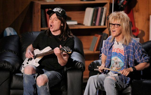 Mike Myers, left, and Dana Carvey of